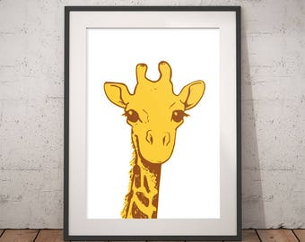 Giraffe print Yellow and brown wall art Nursery animal safari decor Kids poster Child's Room Print Baby shower printable gift