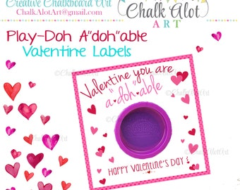 "Valentine you are A""doh""able Valentines, Valentine Favors, Valentine's Day. Valentines - Instant Download"