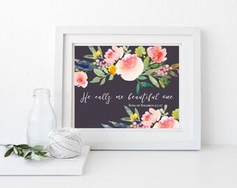 Nursery Bible Verses, Song of Solomon, Floral Print, Nursery Decor Girl, Girl Nursery Prints, Girl Nursery Decor, Instant Download