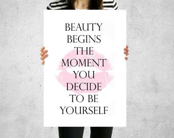 Print Black & White Beauty Begins The Moment You Decide To Be Yourself Wall Art Contemporary 5 Sizes Home Decor Monochrome Design