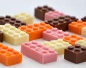 Chocolate Lego Blocks, Bricks, milk, white, orange, strawberry chocolate.