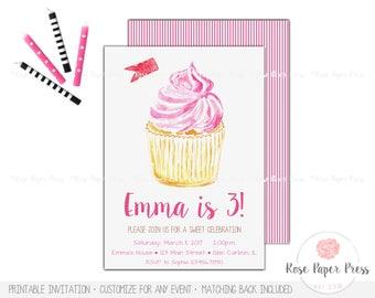 Cupcake Birthday Invitation, Cupcake Invitation   Custom Printable Invitation   Modern Watercolor   Cupcake Invite