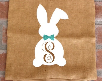 Monogram Bunny Pillow Cover,jute pillow cover,easter pillow,lent pillow,bunny pillow,farmhouse decor,jute rabbit pillow,housewarming gift