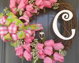Tulip Wreath With Letter, Tulip Wreath, Door Wreath, Grapevine Wreath