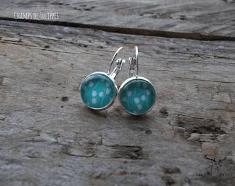 Stainless steel, earrings, sleeper, tulippes fields, spring, spring, season, turquoise - blue - hypoallergenic