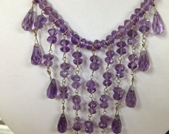 Amethyst Necklace, Natural Amethyst Drop Down Necklace, Hand-Made Necklace