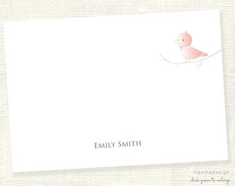 Personalized Notecard Set / Set of Flat Personalized Stationery / Stationary Cards/ Personalized Namecards/Bird/Birdie