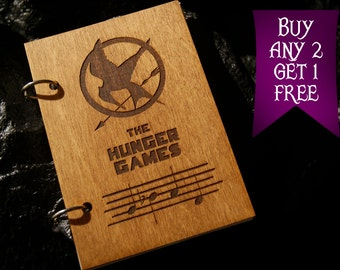 Katniss whistle wooden notebook / Hunger Games notebook / sketchbook / diary / Hunger Games journal / travelbook / Hunder Games gift