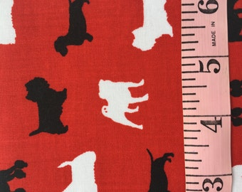 Poodles, Pugs, Terrier, Dachshund Fat Quarters. Red, White, Black