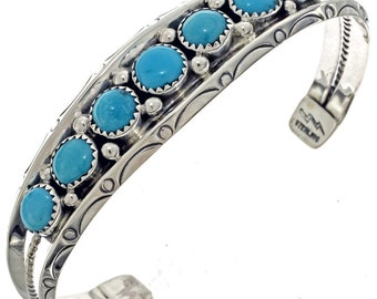 Navajo Turquoise Bracelet Sleeping Beauty Ladies Sterling Silver Cuff