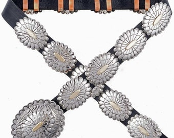 Silver Gold Concho Belt Native American Accessory