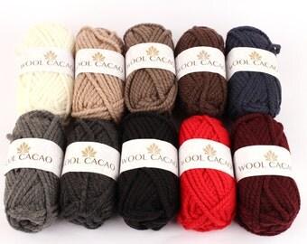 WOOL CACAO Chunky Super Bulky Yarn, Camo yarn,big yarn, Quick yarn, Chunky Yarn (Wool 30 + Acrylic 70)