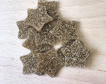 Pack of 10 Small Gold Glitter Stars