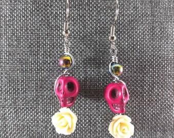 Handmade Hematite Skull Earrings
