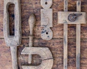 Antique Wooden Tools, Wooden tool set, Rustic Wooden Tools, Primitive wooden tool, Set of wooden tools, Antique workshop tools, decor items