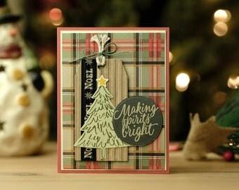 Plaid Christmas Tree Tag Card 4 pack (identical)