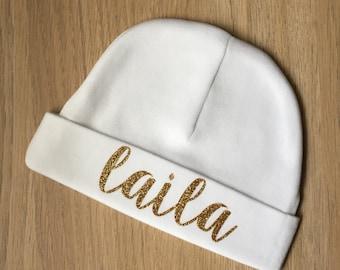 Newborn name baby hat - baby beanie - hospital baby beanie - custom baby gift