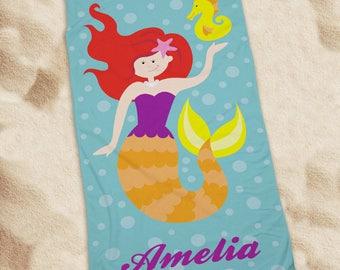 Personalized Mermaid Beach Towel Custom Name Gift