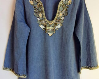 ON SALE! Women's Blouse/ Blue Cotton Tunic/ 3/4 Bell Sleeve/ Embroidered With Beads Neck/Summer Blouse/ Size M