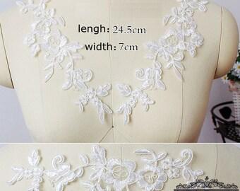1 pair Lace Applique Trim Appliques  for Weddings, Sashes, Veils, Headpieces, WL048