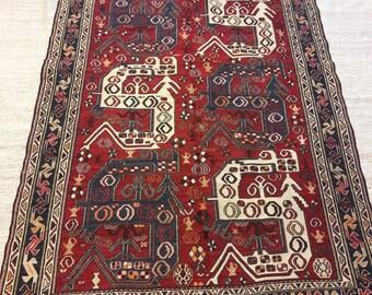 Handmade Soumak Rug, Vintage Traditiona Handwoven flatweave Carpet 48x80 inches