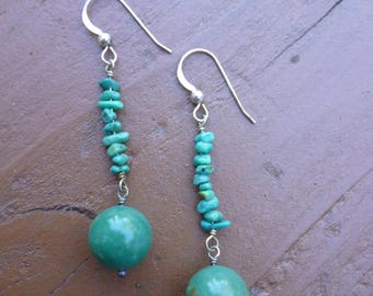 Blue Green Turquoise and Sterling Silver Drop Earrings