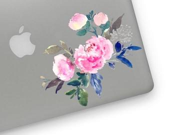 Watercolor flowers floral Royal Blue laptop sticker MacBook sticker decal vinyl decal