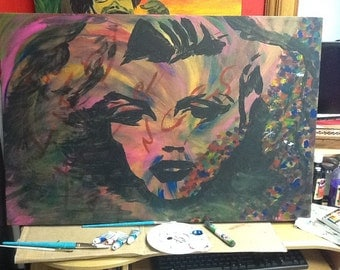 Marylin Monroe with neon acrylic on canvas.
