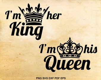King and Queen svg files, Wedding svg, His hers vector, Svg files for Silhouette Cameo, Cut file for cricut, Crown clipart, Iron on design