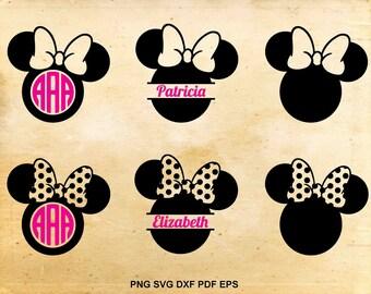 Minnie mouse svg, Monogram frame, Split monogram, Disney silhouette svg, Minnie monogram, Cut files for Cricut, Files for Silhouette Cameo