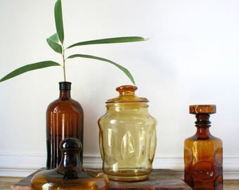 Large amber apothecary glass storage jar