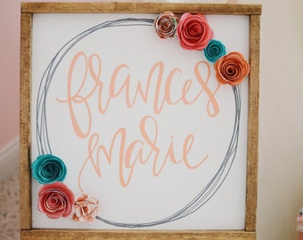 Custom Personalized Name Wood Framed Sign with Paper Flower Accents