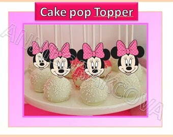 Minnie Mouse Cake pop toppers, Pink Minnie, Minnie mouse cupcake toppers, Minnie Mouse, Polka Dots, Instant Download, 60% OFF