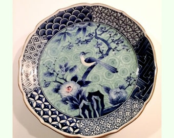 Vintage Chinese Blue Bird Motif Signed Plate