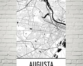 Augusta Map Etsy - Georgia map augusta