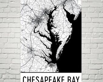 Chesapeake Bay Map, Chesapeake Bay Art, Chesapeake Bay Maryland, Chesapeake Bay MD, Maryland Map, Maryland Art Print, Chesapeake Bay
