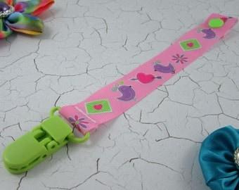 Dummy Clip / Pacifier Strap - Birds/Ladybirds