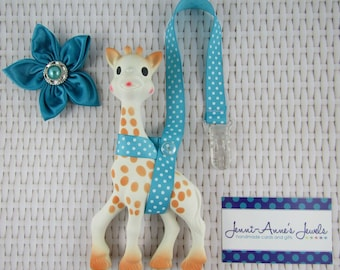 Sophie the Giraffe Leash/Toy Saver - Blues