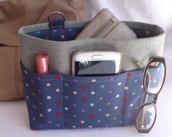 Handbag insert - Bag organiser - Handbag Caddy - Purse insert - 'Spotty' Print