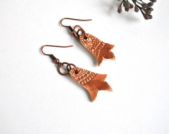 Ceramic Earrings bronze ethnic texture made in Italy