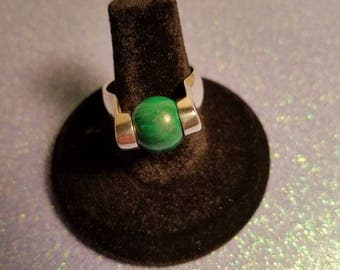 Vintage 1990's Sterling Silver and Malachite Statement ring size 6