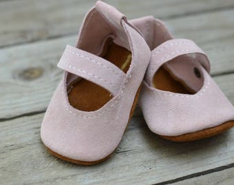 Pink Suede Mary Janes