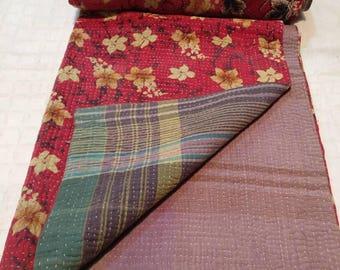 Reversible Kantha Quilt: Kantha bedding, boho quilt, kantha sofa throw, Vintage sari quilt