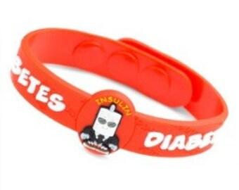 "Medical ID ""Diabetes"" Kids ID Bracelet Fits 4 1/2 - 6 inches"
