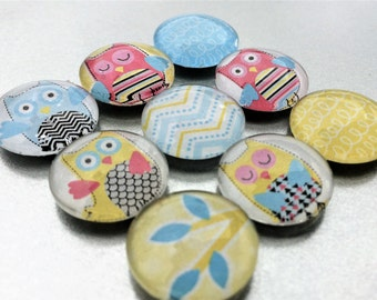 Owl Magnets in Decorative Tin | Set of 9 | Super Strong | Glass | Handmade | Blue Magnets | Yellow Magnets | Chevron Magnets | Fridge Magnet