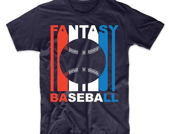 Retro Style Red White And Blue Fantasy Baseball T-Shirt