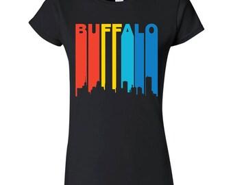 Retro 1970's Style Buffalo New York Cityscape Downtown Skyline Women's T-Shirt