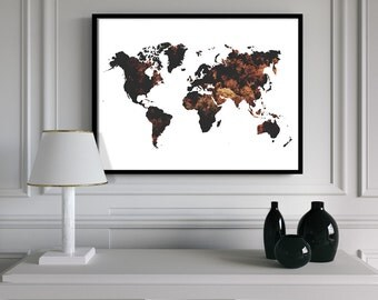 World Map Leaves Modern Edgy Printable Wall Art Photography Digital Print