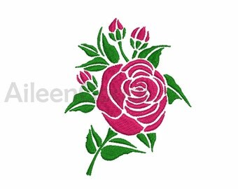 Rose Embroidery  design 4 Size  INSTANT download machine embroidery
