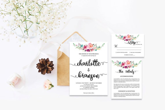 Flower wedding invite_8,Printable Wedding Invitation Suite,Wedding Invite Set,Wedding Printable,Calligraphy
